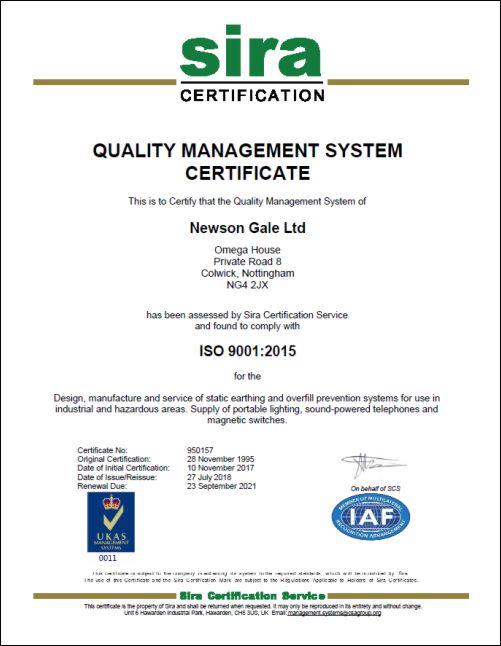 点击此处查看我们的质量管理体系证书